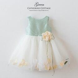 子どもドレス花びらいりチュールスカートベビードレス結婚式809095子供ドレス発表会発表会べビーフォーマル