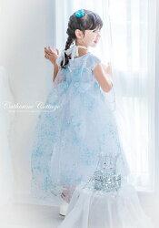 子供ラメオーガンジートレーン水色ドットケープマントハロウィンプリンセス