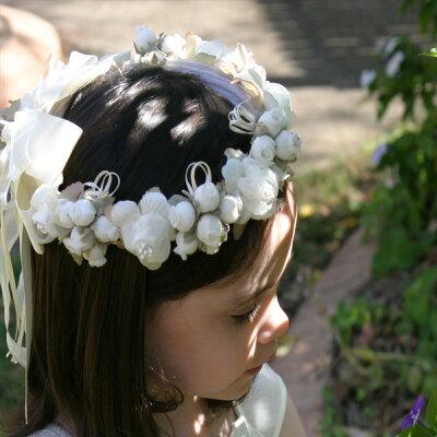 【送料無料】結婚式用 ヘアアクセサリー 「バラのつぼみ」 結婚式用フラワーティアラ 子供...
