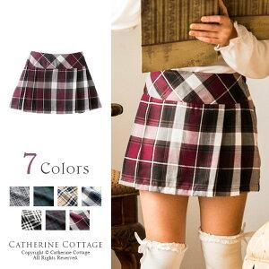 タータンチェックミニ ボックスプリーツスカート フォーマル チェック スカート キャサリン コテージ