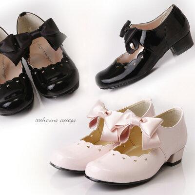 子供フォーマルシューズ シンデレラハートスカラップリボンシューズ  女の子用  黒、ピンク...