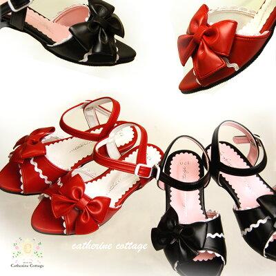 【円高還元】日本製高級子供靴 子供フォーマルシューズ リボン&スカラップサンダル  女の子用