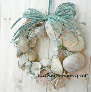 ナチュラルな雰囲気の貝殻がいっぱい海辺を思わせるサマーリースです。【リース 玄関】【リー...