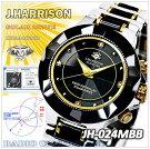 ジョン・ハリソン(J.HARRISON)4石天然ダイヤモンド付ソーラー電波時計(紳士用(JH-024MBB)