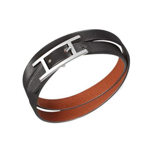 HERMES Leather Bracelet HERMES 22 Behapi Double ...