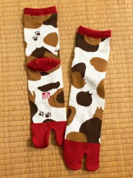 隠れ猫足袋(23-25cm) 倭物やカヤ 公式 和柄7JKP8324猫柄の模様の中に猫の耳が隠れてる。可愛らしい暖か足袋靴下。奈良県