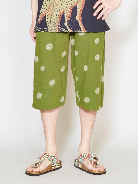 日本のステテコとエスニック柄を合体したメンズパンツ。便利なポケット付き。裾タブ付きで、ロールアップしても使えます。ユニセで着用可能。/エステコ2