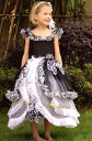 『白と黒のドレス(GD-026)』 キッズドレス、女の子、 ワンピース、 フォーマルドレス、 発表会、 結婚式、 白黒、 モノトーン、 80・90・100・110・120 【CC-Princess】