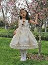 【アウトレット】『2つのお花のモチーフが可愛い ワンピースドレス(GD-225)』 キッズドレス、女の子、 ワンピース、 フォーマルドレス、 発表会、 結婚式、ベージュ、 ピンク、 95-140cm 【CC-Princess】