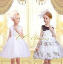 『ホワイトとブラックの2色ドレス(GD-249)』子供ドレス、キッズドレス、女の子、フォーマル、ワンピース、上質、上品、パーティー、刺繍、小花、ロマンチック、結婚式、発表会、発表会、 結婚式、白黒、ブラック、ホワイト 100・110・120・130【CC-Princess】