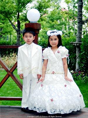 『白の子供用スーツ・5点セット≪BY-007-B≫(大サイズ・130-160cm)』 男の子、 キッズ、 子供スーツ、 白スーツ、 フォーマル、 入学式、 卒業式、 七五三、 結婚式、 発表会、 ホワイト 130・140・150・160 【CC-Princess】