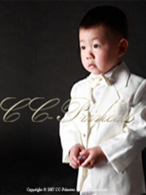 『白の子供用スーツ・5点セット≪BY-007-A≫(小サイズ・80-120cm)』 男の子、 キッズ、 子供スーツ、 白スーツ、 フォーマル、 入学式、 卒業式、 七五三、 結婚式、 発表会、 ホワイト 80・90・100・110・120 【CC-Princess】