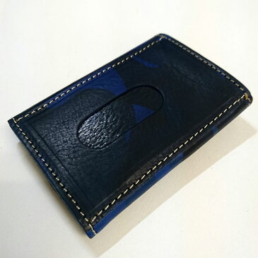 【箱なし特価】イタリアンレザー迷彩柄 紳士用 定期入れ パスケース 名刺入れ カモフラージュRAWHIDE LEATHER(ローハイド) カードケース ネイビー [rocm1001nv]