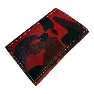 【箱なし特価】イタリアンレザー迷彩柄 紳士用 定期入れ パスケース 名刺入れ カモフラージュRAWHIDE LEATHER(ローハイド) カードケース 赤 [rocm1001rd]