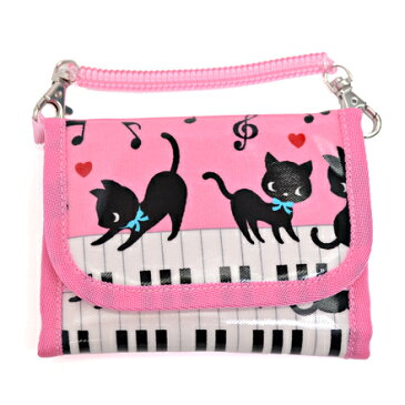 キッズウォレット(財布) チェーン付き ピアノの上で踊る黒猫ワルツ(ピンク) (お財布 キッズ 子供 財布 女の子 小学生 キッズウォレット チェーン コインケース こども 紐付き 中学生 子ども)