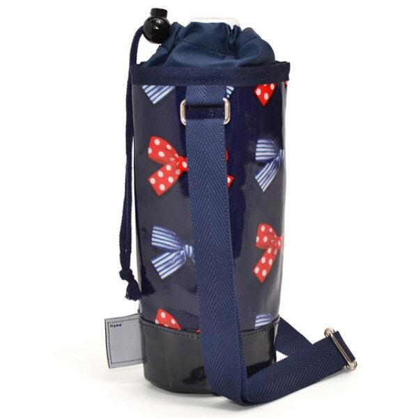 ペットボトルホルダーラミネートポルカドットとストライプのフレンチリボン(ネイビー)子供用水筒カバー子供水筒ホルダーペットボトルホ