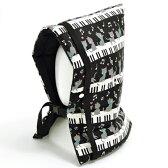防災頭巾(椅子固定ゴム付き) ピアノの上で踊る黒猫ワルツ(ブラック)