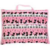 防災頭巾カバー スタンダード(背板幅36cmタイプ) ピアノの上で踊る黒猫ワルツ(ピンク)