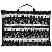 防災頭巾カバー スタンダード(背板幅36cmタイプ) ピアノの上で踊る黒猫ワルツ(ブラック)