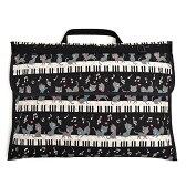 防災頭巾カバー キルティング(背板幅36cmタイプ) ピアノの上で踊る黒猫ワルツ(ブラック)