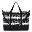 レッスンバッグ マチ付き ピアノの上で踊る黒猫ワルツ(ブラック) 日本製 【手提げバッグ おけ…