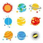 お名前シール(スタンダード 撥水タイプ 375ピース)太陽系のコスモ・プラネット 【代引・後払い不可 送料無料 クロネコDM便】 おなまえシール ネームラベル 子供 幼児 小学生 幼稚園 女の子 入学祝い