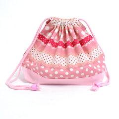 巾着袋・中 お弁当袋 リボンとレースの水玉ハーモニー(ピンク) × オックス・ピンク 日本...