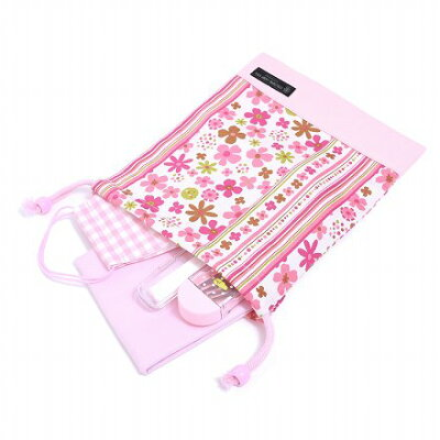 巾着(給食袋)スカンジナビアのフラワーパーク(ピンク)×オックス・ピンク日本製