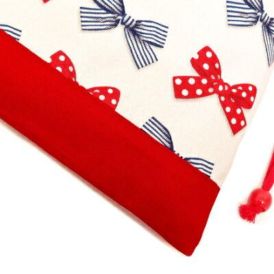 巾着(給食袋)ポルカドットとストライプのフレンチリボン(アイボリー)×オックス・赤日本製