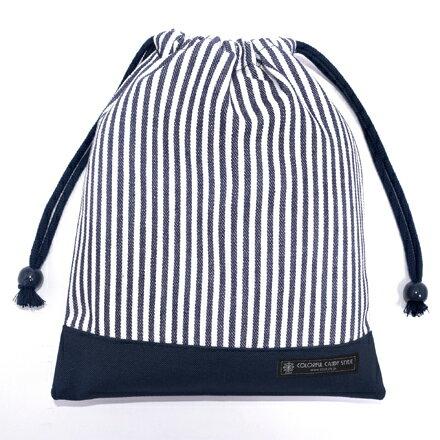 巾着(給食袋)ヒッコリーストライプ・紺×帆布・紺日本製