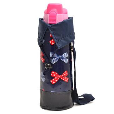 水筒カバー ラージタイプ ポルカドットとストライプのフレンチリボン(ネイビー) (水筒カバー ショルダー 子供 ラージ 水筒 カバー 肩掛け 水筒 ケース ボトルカバー 水筒ケース 800ml 1 リットル 女の子 リボン)