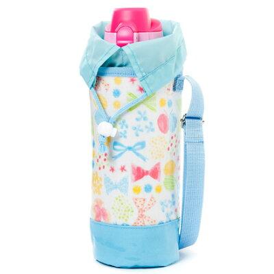 水筒カバー大フラワービーズとふんわりパステルリボン日本製