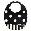 スタイ 丸型タイプ polka dot large(twill・black) (ビブ よだれかけ 大きめ よだれカバー エプロン お食事 前掛け 赤ちゃん ベビー 出産祝い ギフ
