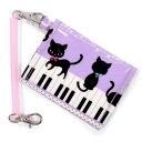 パスケース ピアノの上で踊る黒猫ワルツ(ラベンダー) 子供用 定期入れ パスケース チェーン付き てい...