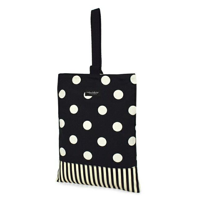 decorPolkaDot シューズケース リバーシブル polka dot large(twill・black)×narrow stripe(twill・black) (上履き 子供 上履き入れ 女の子 上履き袋 高学年