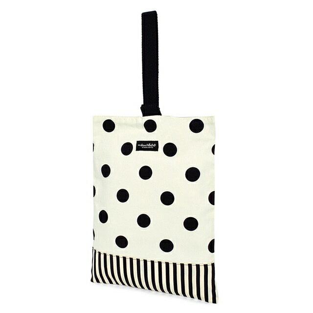 decorPolkaDot シューズケース リバーシブル polka dot large(twill・white)×narrow stripe(twill・black) (上履き 子供 上履き入れ 女の子 上履き袋 高学年