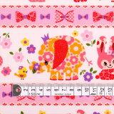 お花大好きプリティ動物フレンド(ピンク) ラミネート0.2mm生地 入園入学 入園準備 入学準備 入園グッズ 手作り 女の子