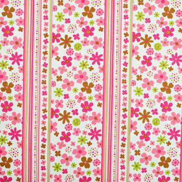 スカンジナビアのフラワーパーク(ピンク) ツイル生地 (布地タイプ) 入園入学 入園準備 入学準備 入園グッズ 手作り 女の子