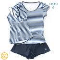 【Sandiaサンディア】ジュニア水着女の子セパレートラッシュTシャツ付きボーダー