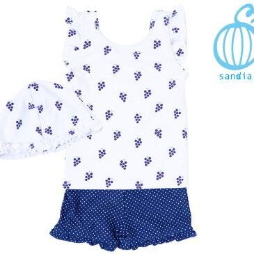 【Sandia サンディア セパレートぶどう 子供水着】水着 セパレート ラッシュガード セット 女の子 キッズ ベビー 子供 80-130cm UV あす楽