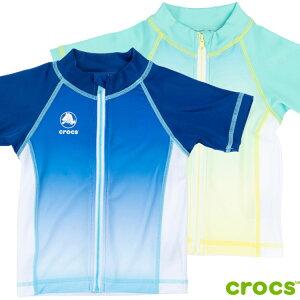 ラッシュガード 男の子 キッズ 子供水着 UV半袖ラッシュガード フルジップ crocs クロックス