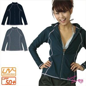 ジップアップ式で着やすさ抜群!UV対策やマリンスポーツに最適。ステッチデザインでシンプル&...