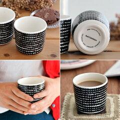 marimekkoマリメッコSIIRTOLAPUUTARHAコーヒーカップ(ハンドルなし)/RASYMATTOドット柄(ホワイト×ブラック)