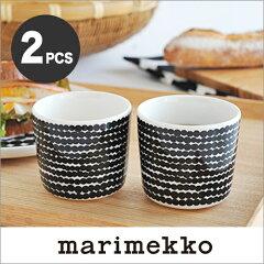 marimekkoマリメッコSIIRTOLAPUUTARHAコーヒーカップ(ハンドルなし)2個セット/RASYMATTOドット柄(ホワイト×ブラック)