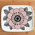 marimekkoKESTITスクエアプレート15cm×12cm/ピンク74(139)【67104】ホワイト×ピンク×ブラックマリメッコ花柄日本限定