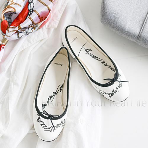 【セール55%OFF】レペット バレエシューズ シープスキンスムース ブラック・ホワイト [90] [Heart-printed] repetto Ballerina Cendrillon [69086/V086LOVE] _dp10_RS55画像