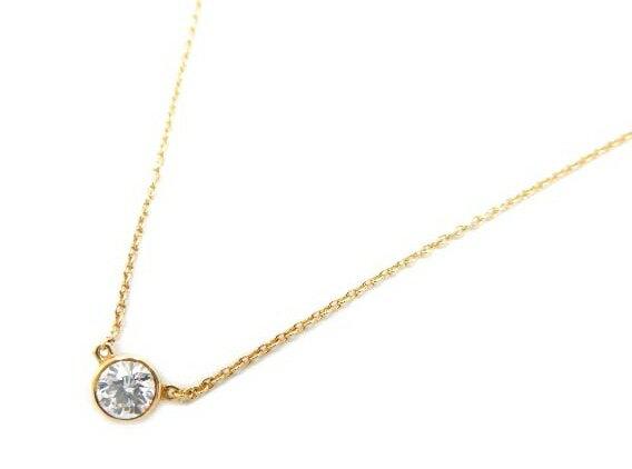 TIFFANY&Co ダイヤモンド バイザヤード ペンダント  K18YG ダイヤモンド 約0.25ct 新品同様【中古】:セレブbyエンデバー