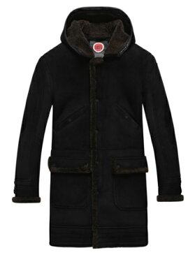 新品 セレブレザー 本革ムートンコートロング フード帽子付き 毛皮 ジャケット SM-4XL メンズ ファー ボア ブラック 黒