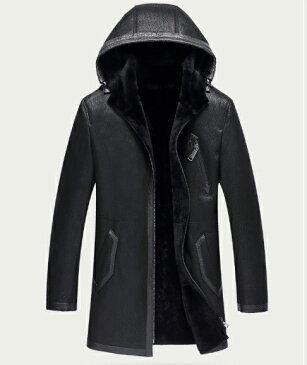 新品 セレブレザー メンズ 本革 ムートンファーボア羊皮羊毛ウールラムレザーコートフード付きパーカージャケット黒ブラックネイビーグリーン M-4XL JKT 革ジャン ZS1903