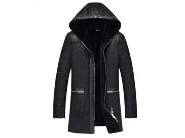 新品 セレブレザー メンズ 本革 ムートンファーボア羊皮羊毛ウールラムレザーコートフード付きパーカージャケット黒ブラック L-4XL JKT 革ジャン SCH17SJF1886